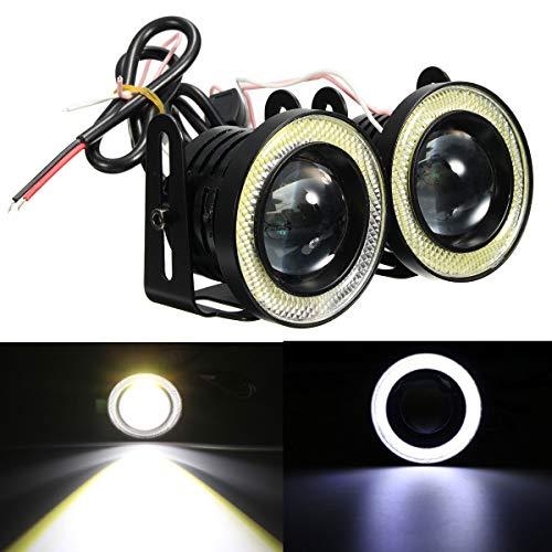 C-FUNN Universal 2,5 inch COB LED mistlamp engel witte ogen Halo Ring dagrijverlichting lamp 30 W pâle