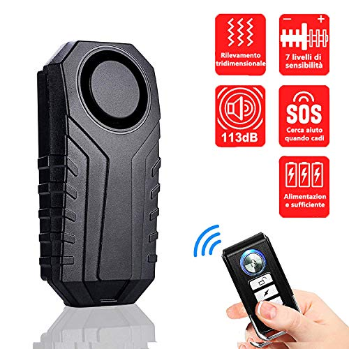 Alarma para bicicleta, alarma antirrobo sin cables, alarma antirrobo de seguridad con mando a distancia, 113 dB, súper fuerte e impermeable (mando a distancia)