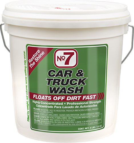 No.7 Car and Truck Wash - 4 Lb Bucket - Concentrated Power - Restores The Shine - Removes Dirt and Grime without Harming Finish or Wax Surface