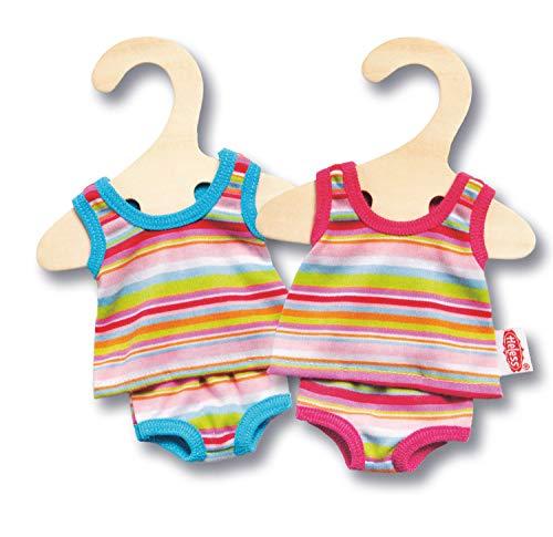 Heless 9110 - Unterwäsche-Set für Puppen, 2-teilig mit Unterhemd und Slip, in blau oder pink gestreift, Größe 20 - 25 cm