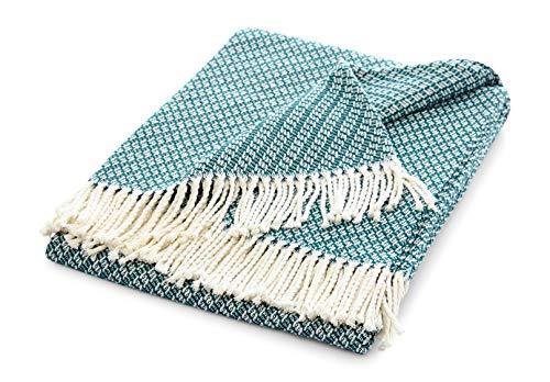 Manta de verano con flecos, elegante y suave, manta de verano con certificado Öko-Tex 100, manta ligera fabricada en Europa, color azul petróleo, 130 x 170 cm, diseño Stockholm