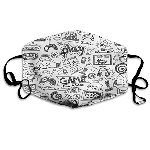 Video Games,Monochrome Sketch Style Gaming Design Racing Monitor Device Gadget Teen 90's,White and Black Unisex Earloop Dust-Proof Face Cover Balaclava Mouth Cover Washable Reusable Filter