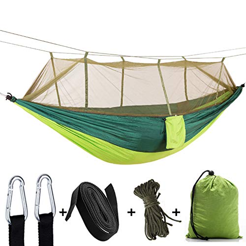 MAQRLT Hammock with Mosquito Net, Outdoor Camping with Mosquito Net Ultralight Nylon Double Army Green Camping Tent