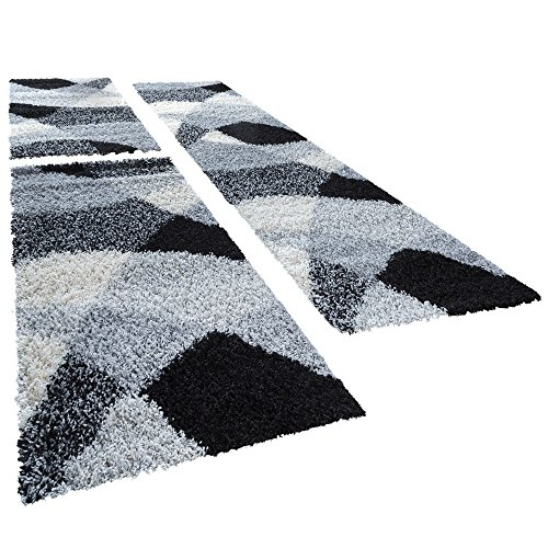 Shaggy Camino Cuna Alfombra Vigo en gris negro blanco Juego de 3, polipropileno, 2 mal 70x140 1 mal 70x250 cm