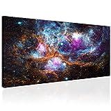 Topquadro Cuadro XXL sobre Lienzo, Imagen Panorámica 100x50cm, Galaxia y Constelaciones - Universo de Estrellas y Planetas - Decoración de Pared, Imagen Panorámica - Una Pieza