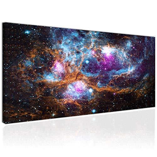 Topquadro XXL Wandbild, Leinwandbild 100x50cm, Weltall, Ansammlung von Sternen und Planeten - Universum All - Panoramabild Keilrahmenbild, Bild auf Leinwand - Einteilig