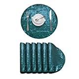DominiBurl Sequin Placemats Set of 6,Heat-Resistant Dining Table Mats,Sparkle Placemats for Party Wedding Decoration Family Reunion(Round 15 inch, Set of 6, Teal )