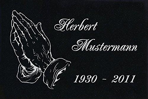 LaserArt24 Granit Grabstein, Grabplatte oder Grabschmuck mit dem Motiv Haende-ag01 und Ihrem Text/Daten
