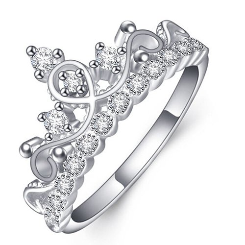 dc jewels Gorgeous Silver Plated Crown Design Swarovski Elements with Adjustable Sterling Ring for Women and Girl's(Silver)