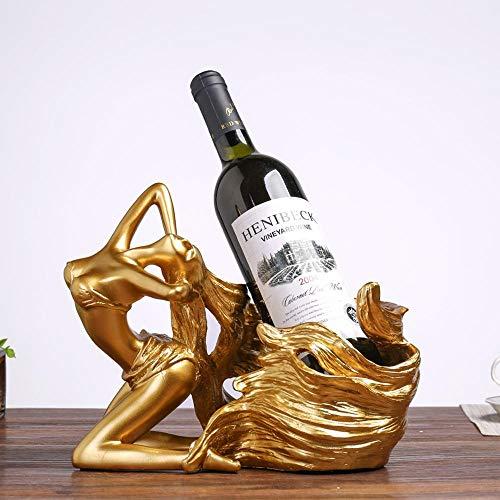 LISAQ Titular de Vino Chica Sexy Botella de Pelo Largo Estante de Vino Tono Vintage Titular de Copa de Vino Pulido de Color Decoración del hogar