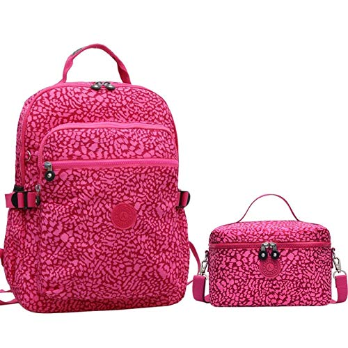 fhdc Mochila Mochilas De Nylon para Mujer Mochila Original Informal Bolso De Escuela De Alta Capacidad para Damas Bolsa De Viaje para Adolescentes Combinación De Leopardo