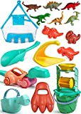 burgkidz Beach Toys for Kids 3-10, Dinosaur Sand Toys for Toddlers, Include Beach Bag, Sand Bucket and Shovel Set, Sand Water Wheel, Beach Molds, and 6 Dinosaur Figure, Beach Sand Toys Set for Outdoor