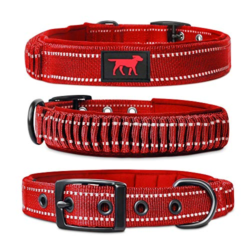 Heavy Duty Dog Collar with Handle   Ballistic Nylon Heavy Duty Collar   Padded Reflective Dog Collar with Adjustable Stainless Steel Hardware   Convenient Sizing for All Breeds