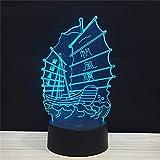 El negocio de la navegación fluida en veleros chinos está en auge 3D Luz de noche LED Lámpara de mesa USB Regalo de cumpleaños para niños Decoración del hogar de cabecera
