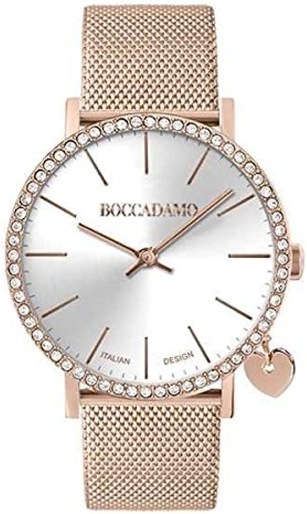 Boccadamo, orologio da donna mya time, in acciaio rosa con quadrante argentato e swarovski con charm laterale MX007
