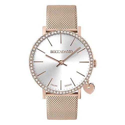 orologio donna boccadamo Boccadamo Orologio da Donna Mya Time in Acciaio Rosa con quadrante Argentato e Swarovski con Charm laterale