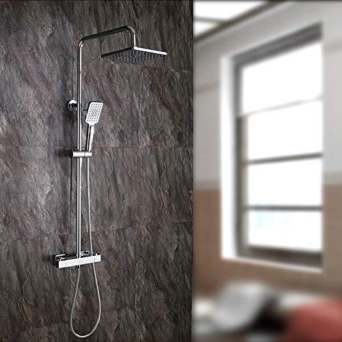 Cabezal de ducha con un solo botón de control de 38° - Juego de ducha termostática cuadrado, todo el cobre ducha, control inteligente de temperatura sin agua ducha,