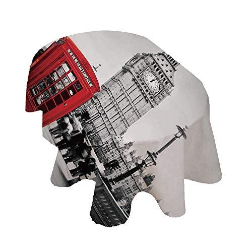Mantel ovalado de Londres, famosa cabina telefónica y el Big Ben en Inglaterra Street View Symbols of Town de poliéster decorativo, 152 x 213 cm, para comedor y cocina, color rojo y gris