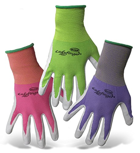 3 pair Ladyfinger nitrile palm garden gloves for women 3 Colors (Small)