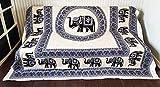 Goods4good Decoración con Diseño de Mandala Elefantes Ideal Cubre Sofa Colcha Cama Pareo Playa Picnic Familiar Grande 210x240cm 100% Algodón (Marrón y Negro)