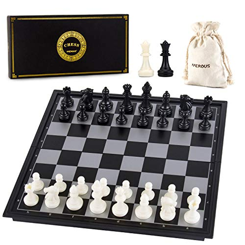 AMEROUS 10 Inches Magnetic Travel Chess Set with Folding Chess Board -...
