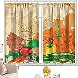 Cortinas aislantes cosechas, vivas verduras frescas W52 x L84 pulgadas cortina de granja