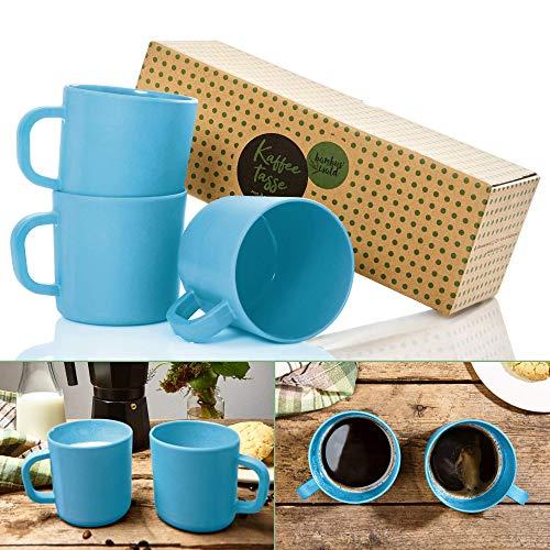 bambuswald© ökologische Kaffeetasse mit Henkel - 480ml | 3 Stück - groß, nachhaltig, spülmaschinenfest, robust & geringes Gewicht (153g)| Trinktasse Kaffeebecher Becher Tasse Coffee Kaffee Tee