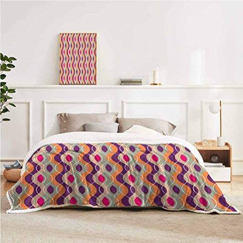 """YUAZHOQI Geometric Throw Blanket for Couch Bed Vertical Wavy Curved Colorful Stripes Retro Funky Motif Throw for Girlfriend Best Friend 51"""" x 71"""" Plum Orange Grey Pink"""