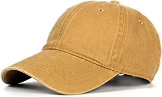 CHENDX High Quality Hat, Summer Solid Color Baseball Cap Fashion Female Korean Version Baseball Cap Male Washed Denim Old Retro Hat Fashion Wild Bend Cap (Color : Yellow, Size : 56-60CM)