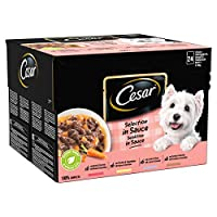 CESAR Deliciously Fresh 100 Percent complete wet dog food pouches, filled with a tasty combination of either beef & carrots, chicken & vegetables, lamb & peas or turkey & carrots, in a tasty sauce Each meal consists of a tried and tested dog-friendly...