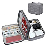 Styleys Double Layer Electronics Accessories Organizer Bag Gadget Organizer Case, Portable Zippered Pouch for All Gadgets, HDD, Power Bank, USB Cables, Power Adapters, etc (Grey - 110029)