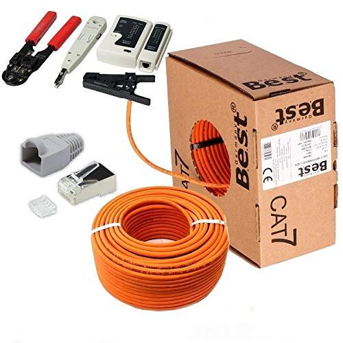 SatShop-Ft 50m CAT 7 Verlegekabel Netzwerkkabel CAT.7 + Crimpzange RJ45 Zange + Kabelmesser + 20x Netzwerkstecker Netzwerk Stecker LAN Halogenfrei Installationskabel CAT7 Kupfer Kabel Netzwerk