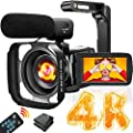 4K Video Camera Camcorder with Microphone Ultra HD 30MP YouTube Vlogging Camera 3.0 Inch Touch Screen 16X Digital Zoom Camera Recorder with Handheld Stabilizer and Remote Control from YIDA TECH