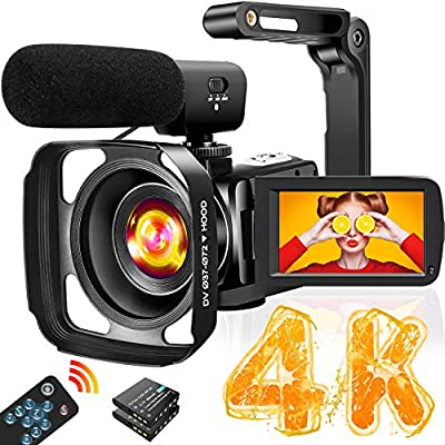 Video Camera Camcorder Full HD 1080P 30FPS 24MP Vlogging Camera for YouTube 16X Digital Zoom IR Night Vision Camcorder with Microphone Remote Control Lens Hood and 2 Batteries Time Lapse Webcam by YIDA TECH