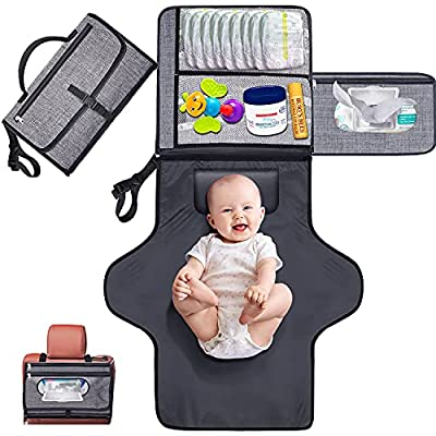 Gimars XL Holding Anything Portable Baby Diaper Changing Pad, Detachable Waterproof Baby Travel Changing Mat Station with Head Cushion for Diapers Wipes Creams - Perfect Baby Shower Gift by Gimars