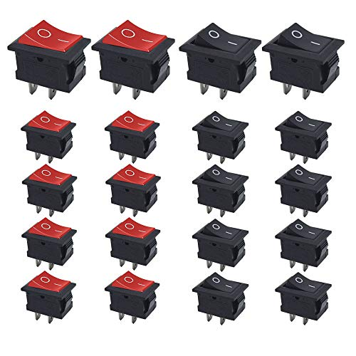 Senven 20Pcs SPST Boton Interruptor Rocker AC 6A / 250V, 10A / 125V ON-OFF 2 Pin, mini interruptor electrónico para automóviles, barcos, electrodomésticos (rojo +10 negro +10)