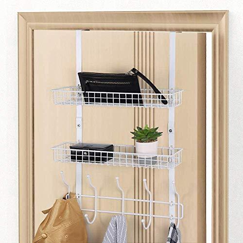Over The Door Hook Shelf Organizer with 5 Hooks & 2 Baskets for Coat, Towels, Hats, Handbags, White