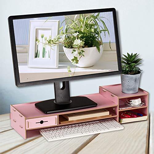 Annjom Verdickter Brett-Laptop-Ständer, Schreibtisch-Organizer, einfaches modernes Design für Bürotisch(Pink)