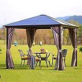 WSN Hardtop Pavillon Outdoor Sonnenschutz, Aluminiumhalterung Polycarbonat Ganzjahres-Pavillon-Terrassenzelt für Hinterhof & Party & Event,3mx3m