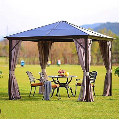 WSN Hardtop Pavillon Outdoor Sonnenschutz, Aluminiumhalterung Polycarbonat Ganzjahres-Pavillon-Terrassenzelt für Hinterhof & Party & Event,3mx3.6m