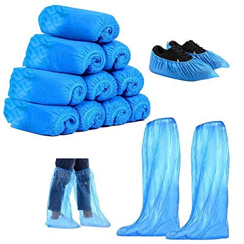 Copriscarpe Lunghi Monouso,Xiuyer 110paia Antiscivolo Sanitari Resistenti Usa Getta Impermeabile Blu Monouso Copristivali Per Uomo Donne Giorno Pioggia Campeggio Escursionismo
