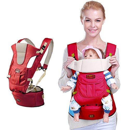 Polyester Coton Porte-bébé Confort à l'avant et à l'arrière Tabouret de taille pour enfants Sac à dos Ceinture de transport Siège de hanche pour nouveau-nés, bébés et tout-petits Par GOMNEAR (rouge)