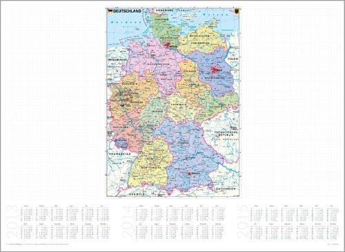 Deutschland politisch - Papierschreibunterlage mit Kalendarium 2013 / 2014 / 2015