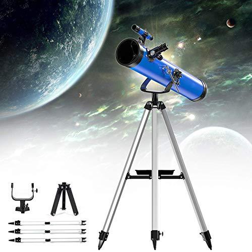 Telescopio astronómico, 700/114 mm Telescopio refractor profesional Zoom 875X HD Telescopio espacial monocular para exteriores con trípode ajustable + Visor buscador + 3 oculares + Filtro lunar + 1.