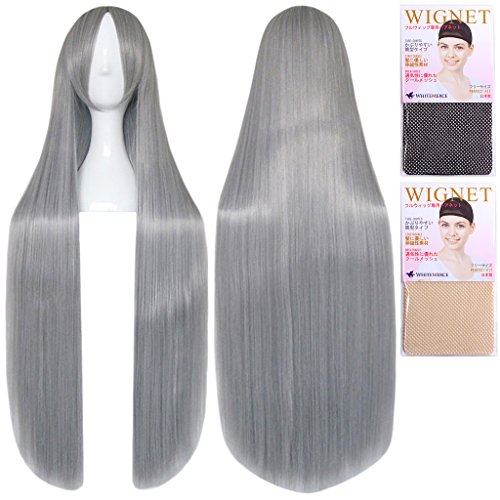[Cosplay wig 100cm heat-resistant high-quality Genuine] super long straight silver gray silver gray CaseEden original 4-piece set (+ stand + wig hair net two) CaseEden (japan import)