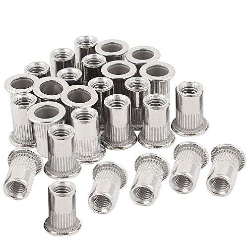 30pcs 1/4-20 Rivet Nuts Stainless Steel Threaded Insert Nutsert Rivnuts 1/4-20UNC