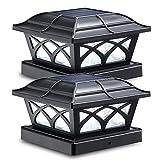 Siedinlar Solarleuchten Garten Solar Pfostenleuchte 2 Modus Solarleuchten für Außen mit LED Lampe Wasserdicht für Garten Terrasse Zaun 3.5x3.5 4.5x4.5x5.5x5.5 Hölzerne Pfäle (2 Stück)