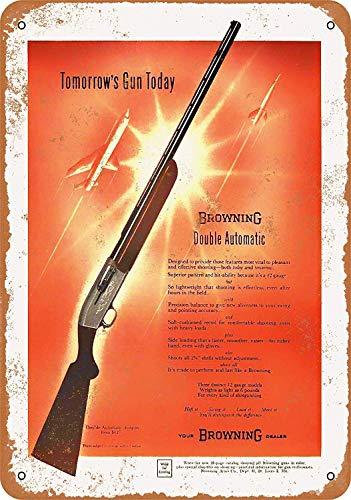 Inga Letrero de metal Browning doble auto escopetas retro decoración de lata, barra cafetería arte casa decoración de pared vintage cartel de metal 8 x 12 pulgadas