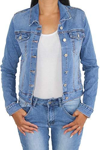 Damen Jeansjacke Damenjacke Kurze Denim Stretch Jeans Jacke Übergangsjacke Blau HY9603 S/36