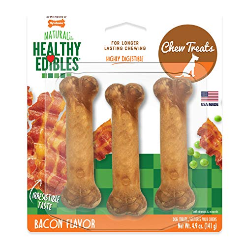 Nylabone Healthy Edibles All-Natural Long Lasting Bacon Chew Treats 3 count Small/Regular - Up to 25 lbs., Brown (NEB106P)